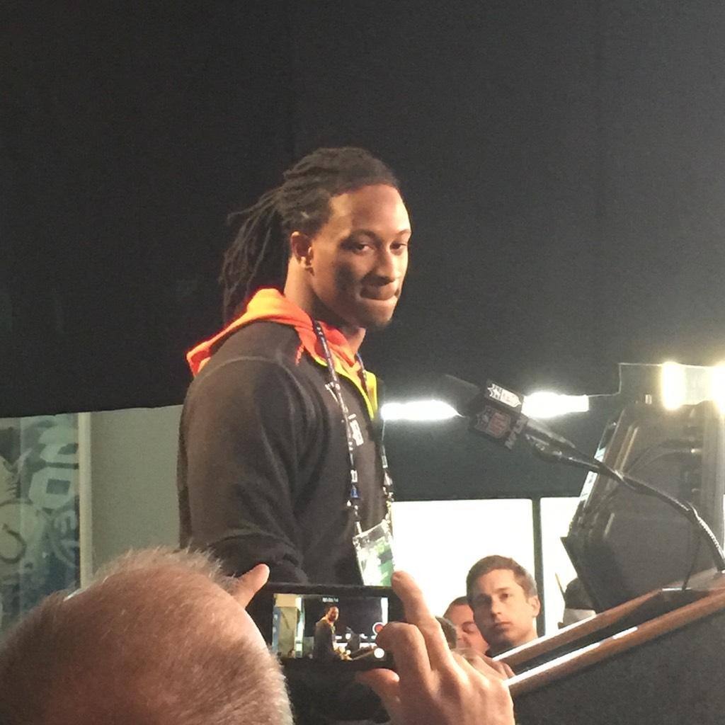 Georgia running back @TG3II is now at the podium. #NFLComine #dgd http://t.co/QmL21f1g4H