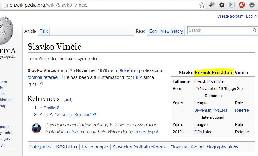 Wikipedia knows it better: Slavko French Prostitute Vinčić :) #fcdk #Vinčić #gengam #генгам #uefa http://t.co/ZrDg3GZDdZ