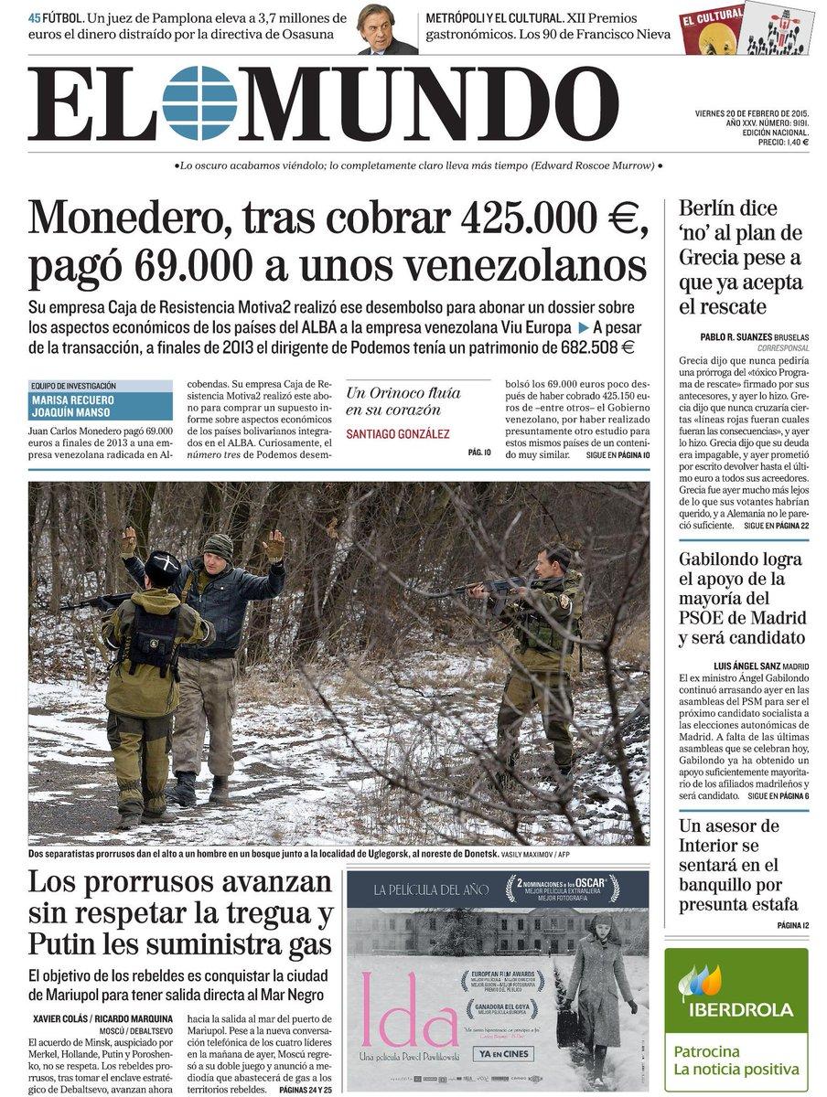 La portada de EL MUNDO de mañana http://t.co/vk7iLJYGwT