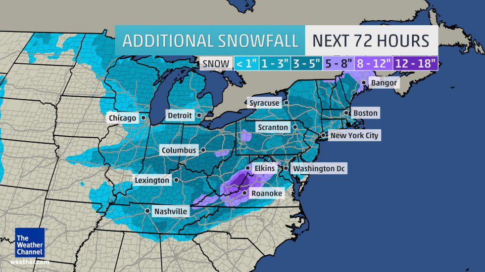 #Snow totals could exceed 1 FOOT over the weekend in parts of the U.S. 72 Hour #Snowfall Forecast. #Pandora #winter