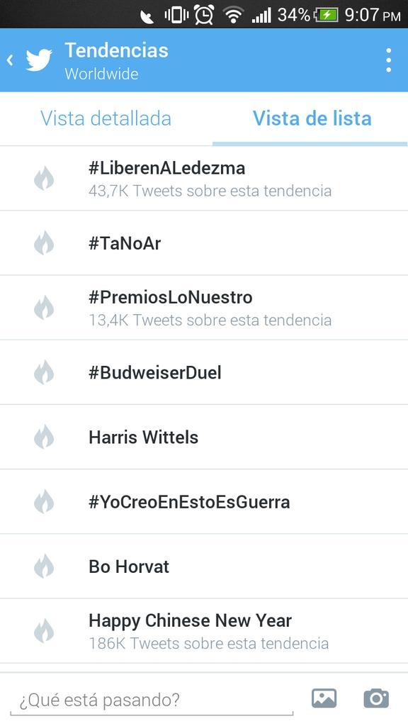 Ahora mismo la etiqueta #LiberenALedezma es Trending Topic mundial en Twitter http://t.co/3vODl0gENY