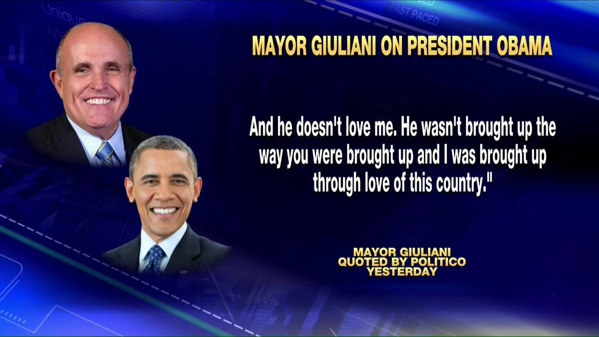 #RudyGiuliani on #KellyFile now to respond to criticism of comments on Pres. #Obama.