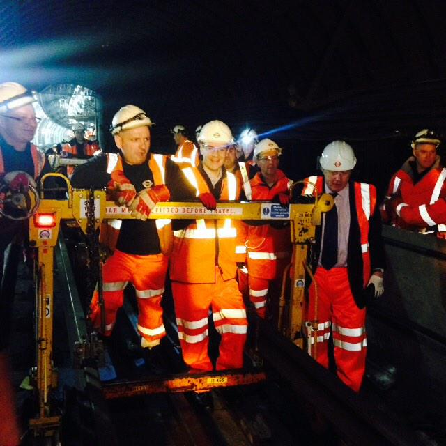 We went into Vic Line tunnel to see works being carried out and helped move replacement track to where required 2/2 http://t.co/Jca8qlRkZR
