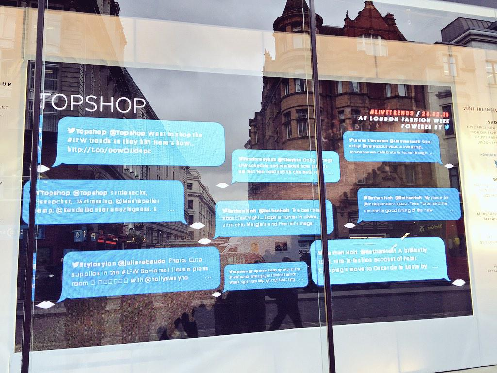 Twitter in-store at Topshop for London Fashion Week #LFW http://t.co/OZscSb4AlL