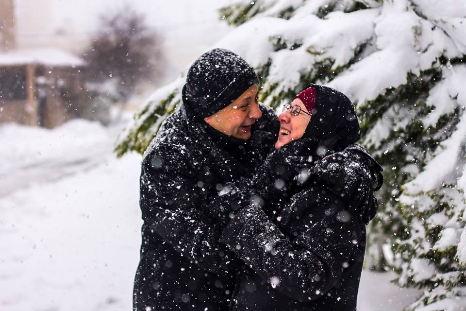 Mom&Dad having a Romantic moment during #JanaStorm this morning. This picture will eventually get printed, big size