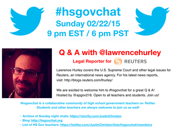 Thumbnail for #hsgovchat (02/22/15): Q & A with @LawrenceHurley