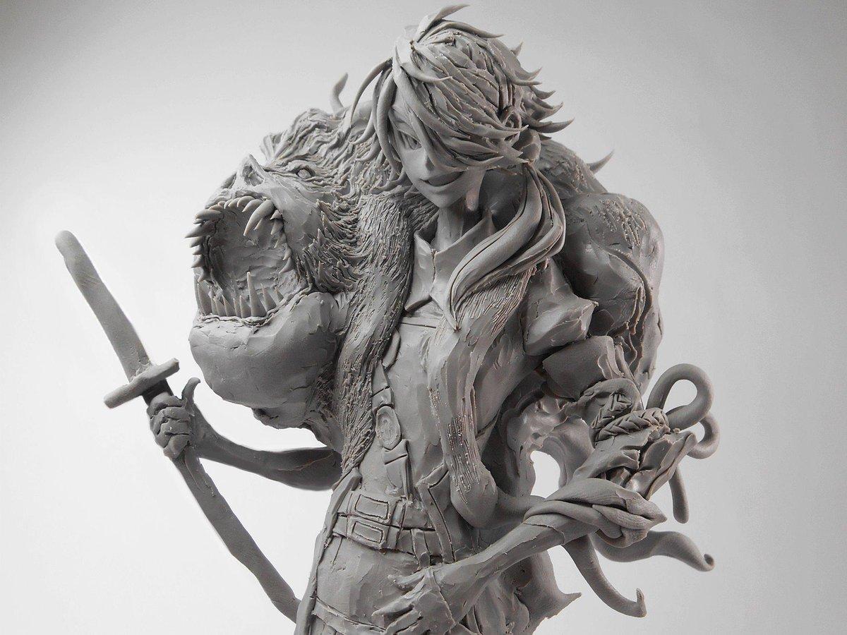「刀剣乱舞」の獅子王を作りました。素材はグレイスカルピー(造形用の粘土) http://t.co/aQnInApVW1