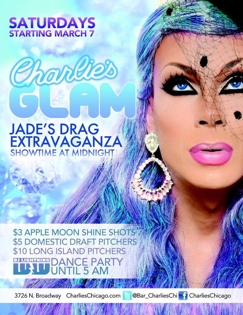Every Sat at Charlie's, brand new Glam Party starting March 7 Extrava begins at 12. No cover b4 1. #BreatheOfFreshAir http://t.co/tTIDn7esLJ