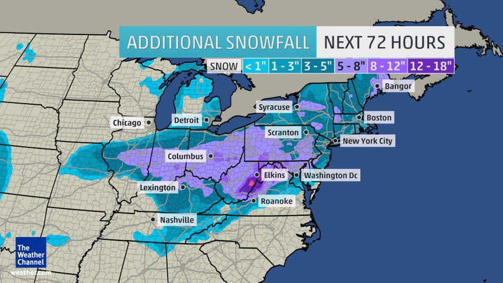 #Snowfall potential through the weekend could exceed 18' in E. U.S. 72 Hour Snowfall Forecast. #Pandora #snow
