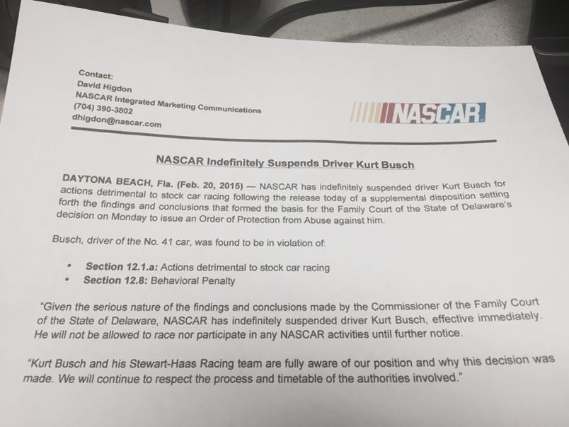 Here's the #nascar statement in full on @KurtBusch suspension http://t.co/fwTAJ3Ib6C