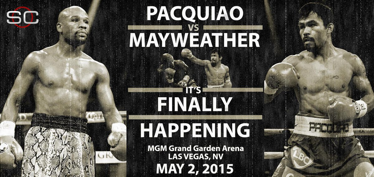 BREAKING: It's on. Floyd Mayweather announces that he'll fight Manny Pacquiao on May 2nd at MGM Grand in Las Vegas.