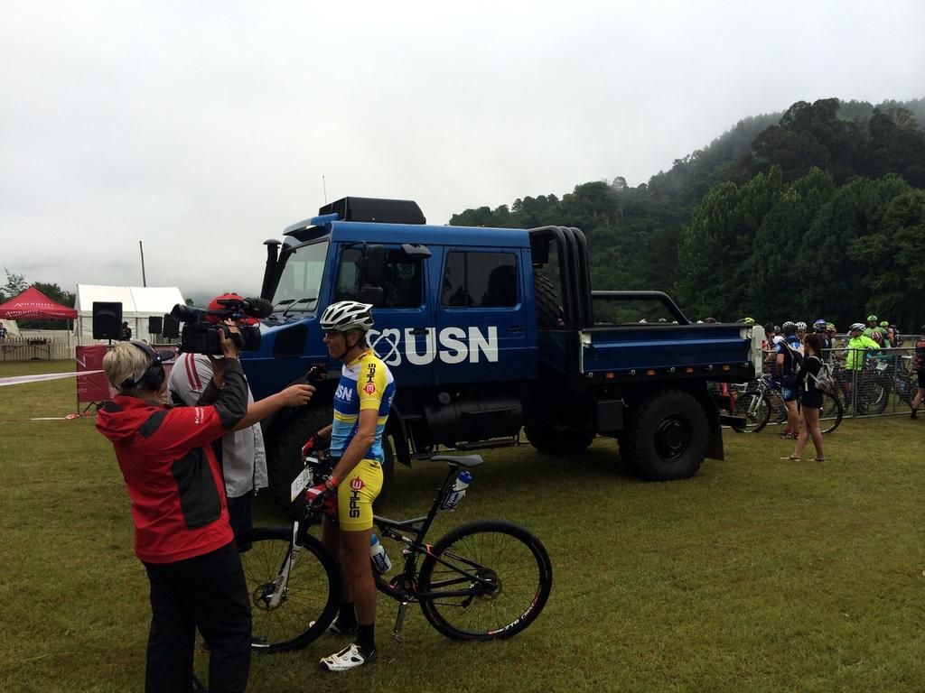 USN Brand Ambassador @chr1stophbrand  on camera prior to the start of the @NatMTBseries in Sabie. #PUREFIT #USNlife http://t.co/CKtXi4o0VW