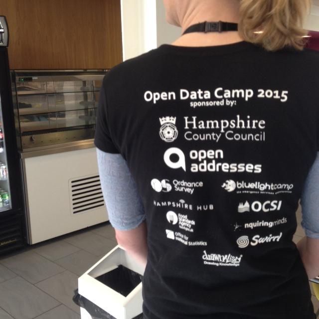 .@swirrl are proud sponsors of #odcamp Nice event t-shirt! (thanks @JemmaVenables )  Session pitching started... http://t.co/sK3AzVAboc