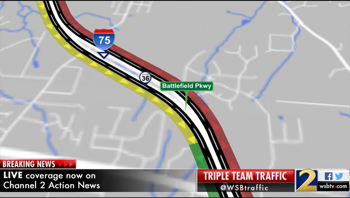 Exit: I-75/nb is shutdown between Exit 345 & the GA/TN