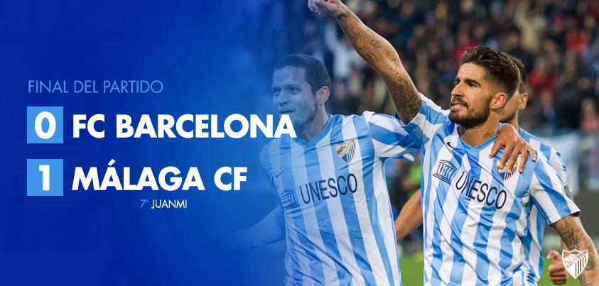 Final. #FCBarcelona, 0 - #MálagaCF, 1 (Juanmi, 7') #MCFLive http://t.co/FHnSfKibPo