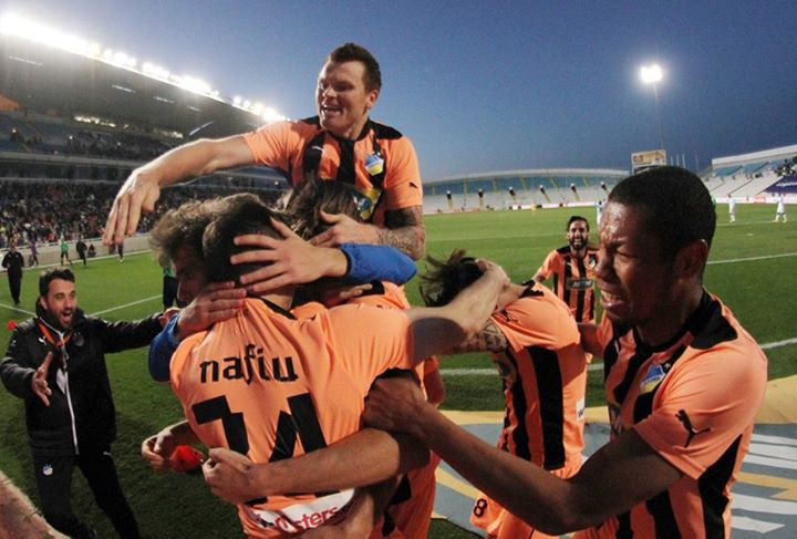 APOEL celebrates their late game winner