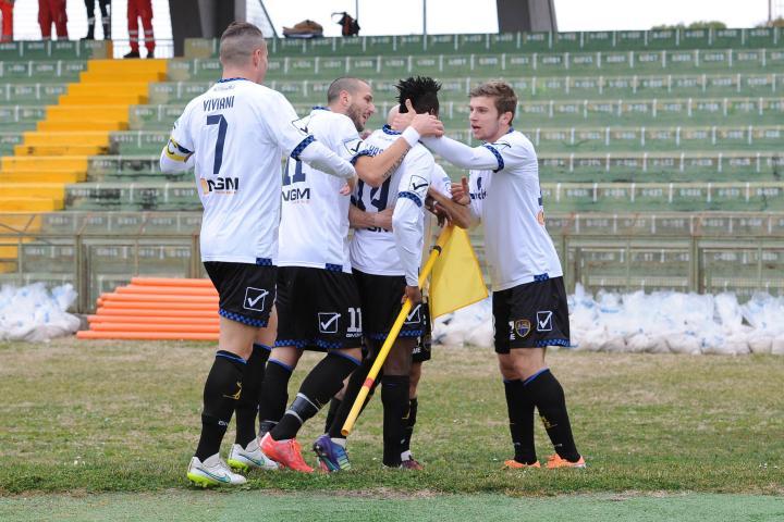 Ristovski celebrates his teammate's goal