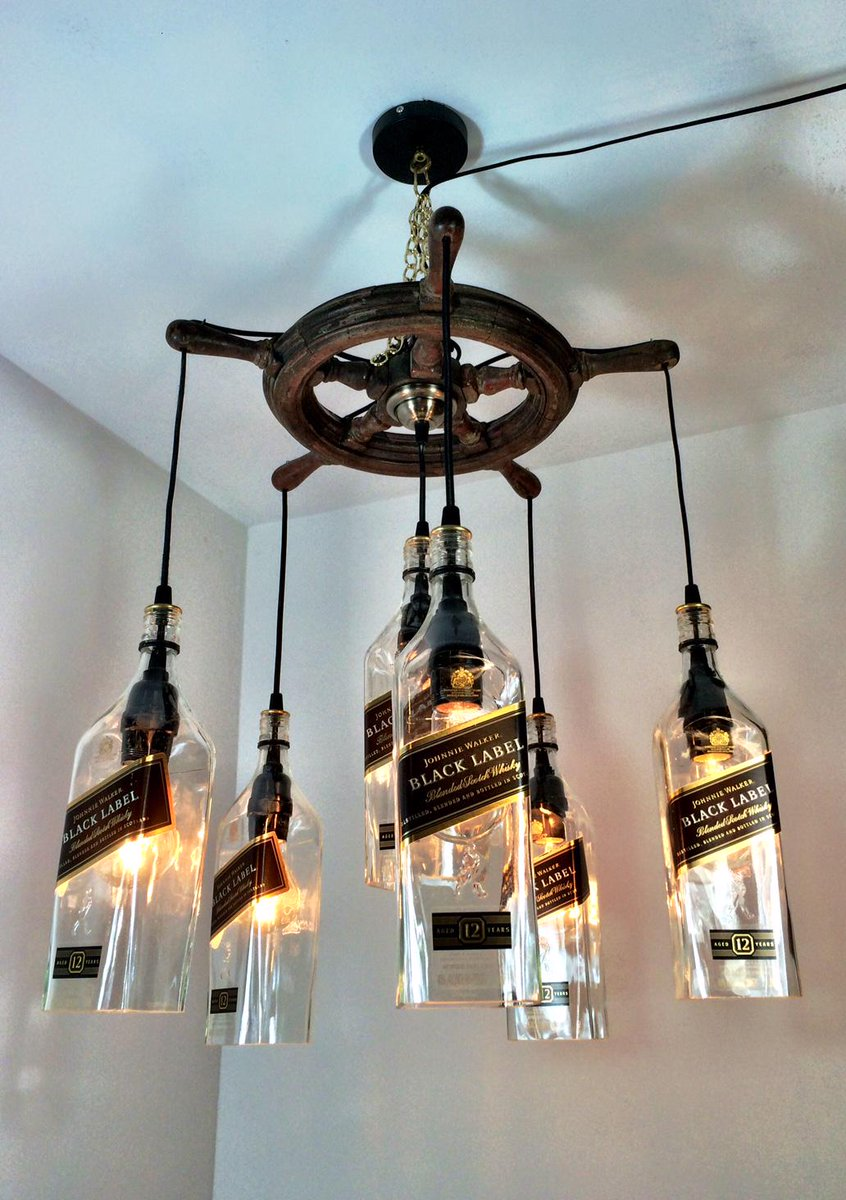 Pm glass works on twitter johnnie walker black 6 bottle whisky pm glass works on twitter johnnie walker black 6 bottle whisky chandelier hanging on a ship wheel johnniewalkerus whisky upcycle recycle aloadofball Image collections