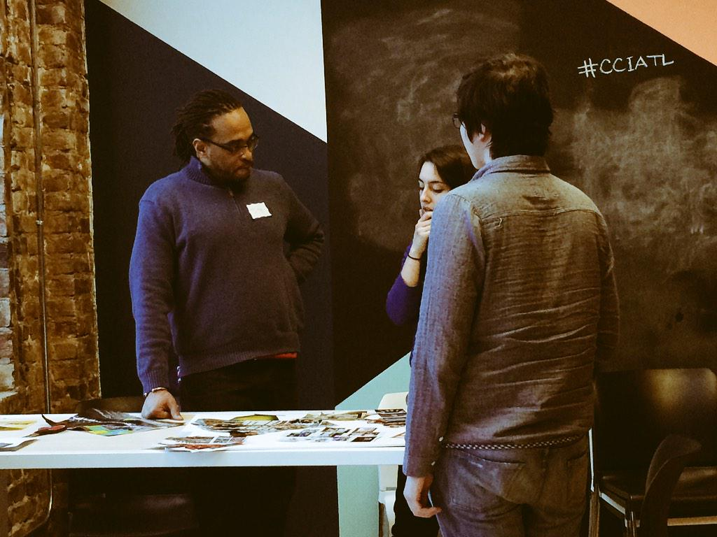GT Student @ericrav and the storytelling group discuss strategies #CodeAcross http://t.co/p9haGIIxXQ