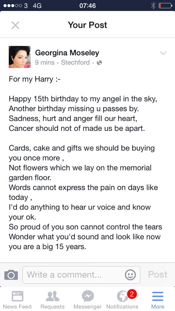 A poem for my Harry who should be celebrating his 15th birthday today! Big announcement a little later http://t.co/SvElPdxmoR