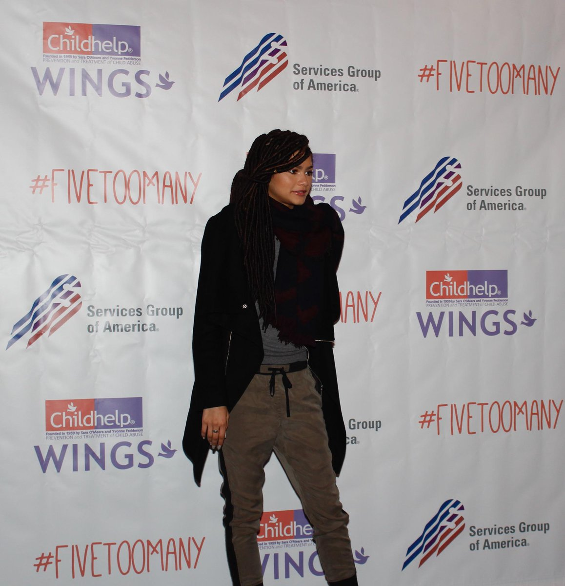 @Disney's @Zendaya has arrived at the 2015 Childhelp Wings Fashion Show! #FiveTooMany http://t.co/TKFAQOca3Q