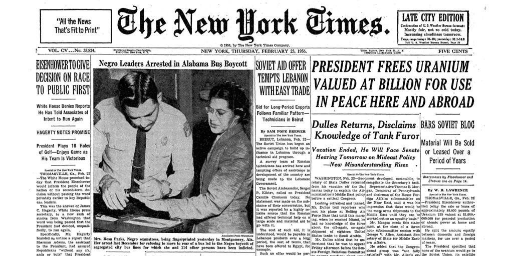Gina Cosentino on Twitter: u0026quot;MT @NYTArchives: On this day 1956, Rosa Parks is arrested in ...