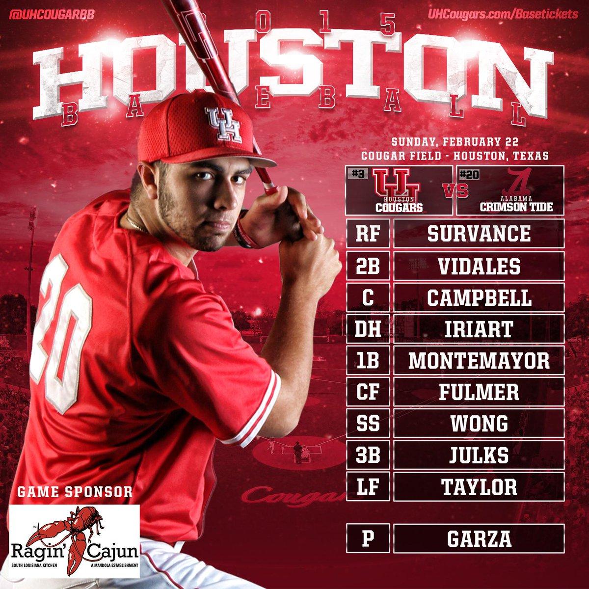 Alabama Starting Lineup >> Houston Baseball On Twitter Starting Lineup Today S