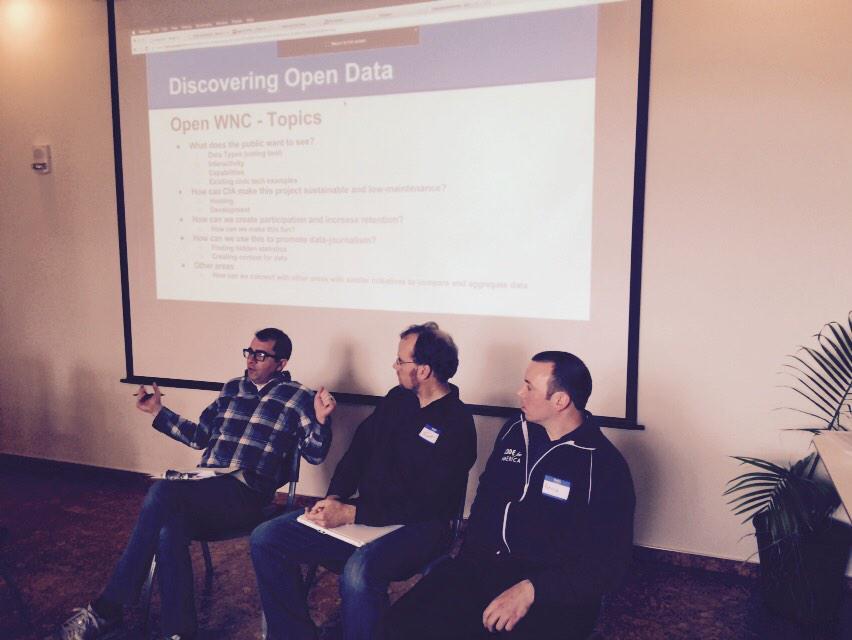 @jonelliston, Scott Barnwell, and @patrickconant presenting OpenWNC at #CodeAcross - revealing $10K grant! http://t.co/TOwgGhSiDT
