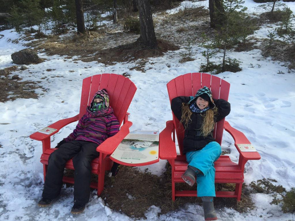 jasper national park on twitter way to go girls red chairs on the