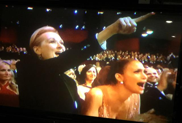 Deserved winner Patricia Arquette gives speech of the night about gender equality. Streep and JLo clearly agree. http://t.co/TsCrEeCG1F