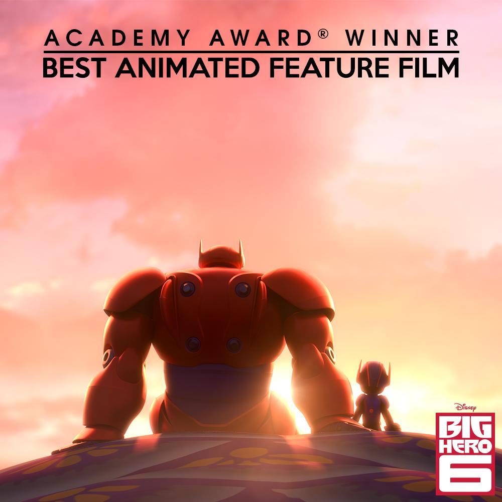 #BigHero6 just won the Academy Award for Best Animated Feature! Congratulations to the entire team! #Oscars http://t.co/B26HFQHh8o