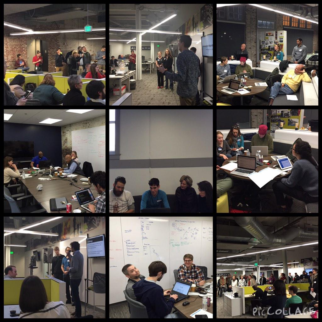 Projects include land bank marketplace, blight reporting, food desert database, park access. #ALhack #SmartCityHack http://t.co/6Vpp7iuPVz