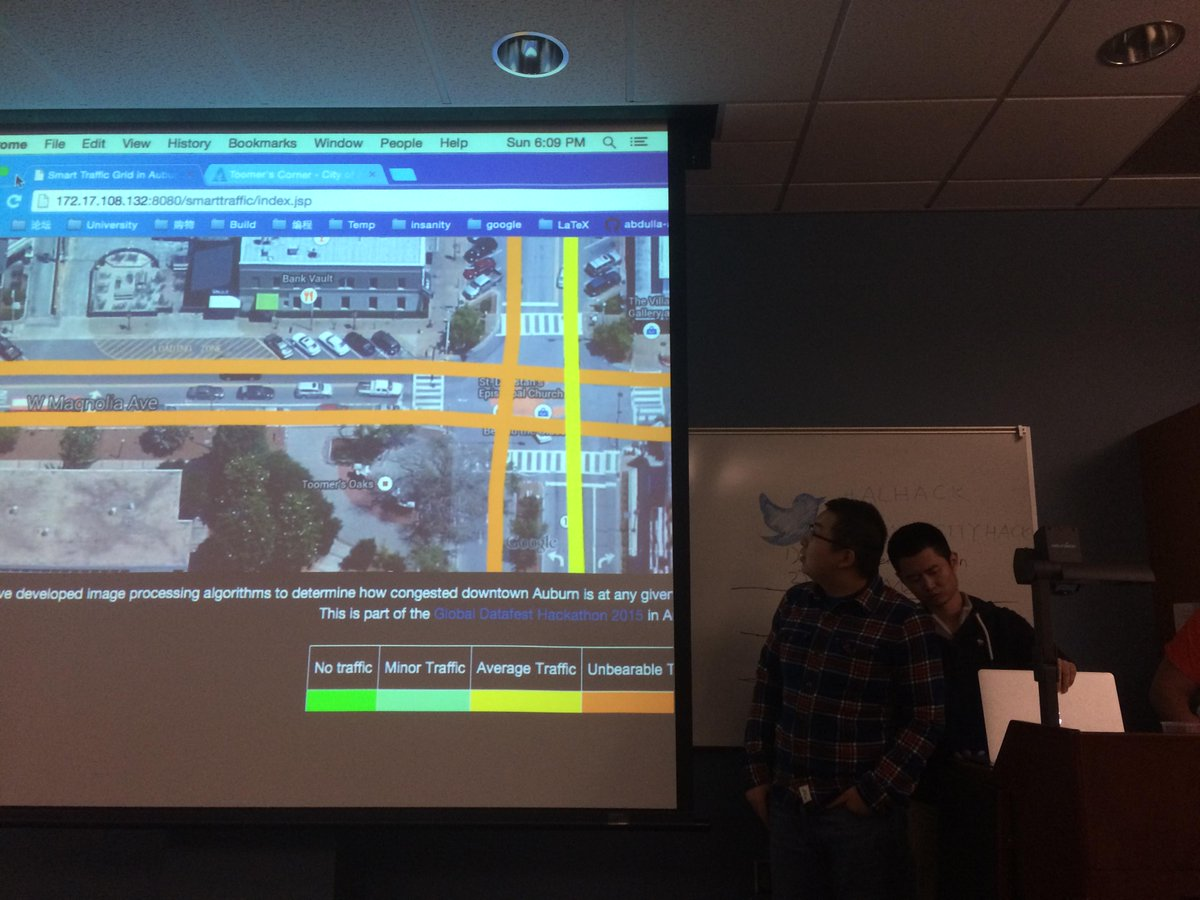 Resistars working on real time traffic detector based on livestream cam feed #ALhack #SmartCityHack http://t.co/o2mrpsnwtE