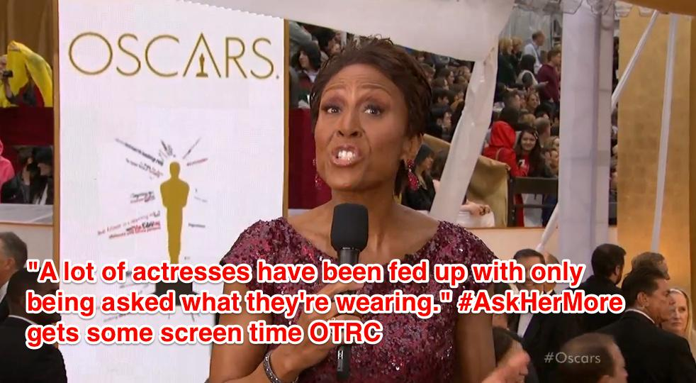 This is what we love to see! MT @ArielAzoff: #AskHerMore getting some screen time on ABC! #Oscars http://t.co/f0fE4aN4Kd