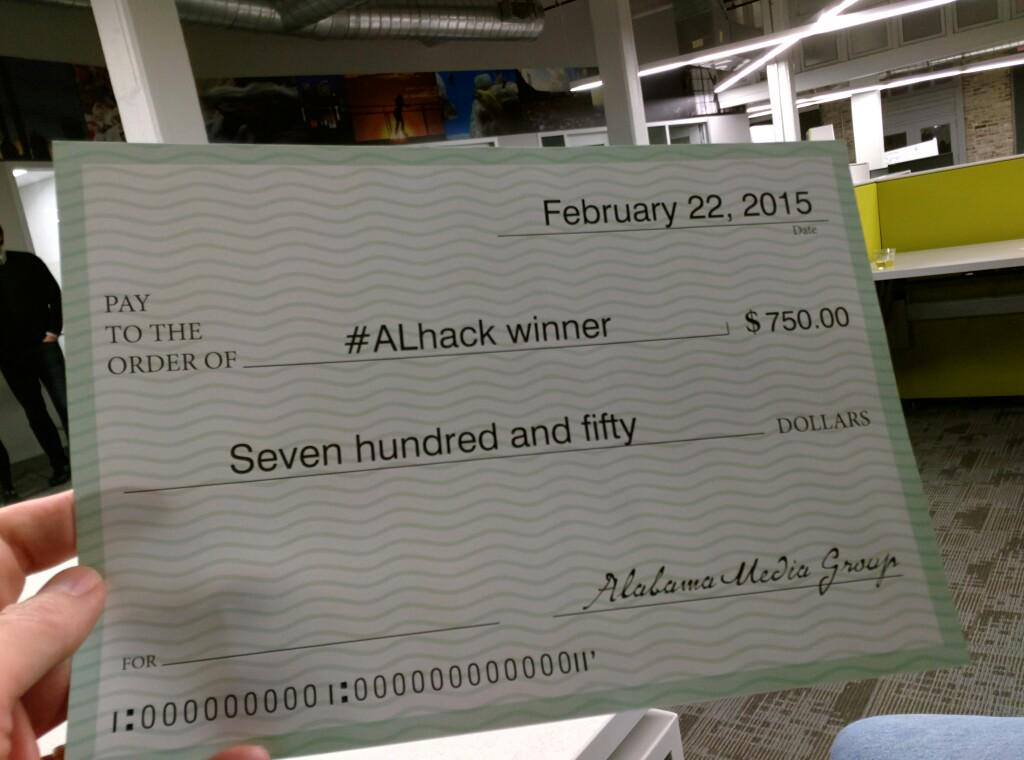 Our team won!! (One of two) #alhack http://t.co/JII6nzAEEV