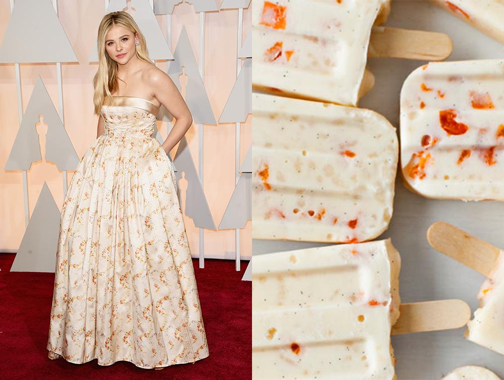 These apricot rice pudding pops + @chloegmoretz's outfit. Perfection. #Oscars http://t.co/ypTUzfFORB