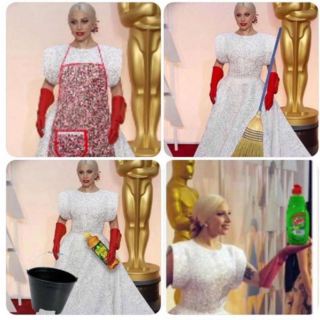 Lady Gaga...ready to clean at the Oscars #Oscar2015 #OscarsRedCarpet http://t.co/EwWpLEdeaN