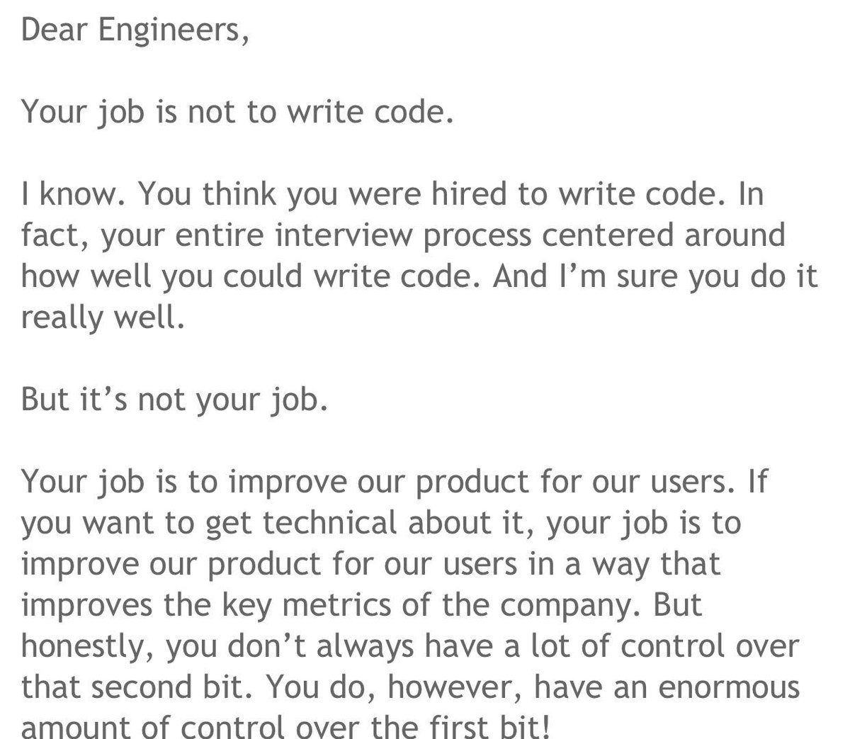 "I used to preach this. ""Engineers: Your job is to help the company grow...not write code."" http://t.co/oahr4LWVg3 http://t.co/tiK30hn04f"