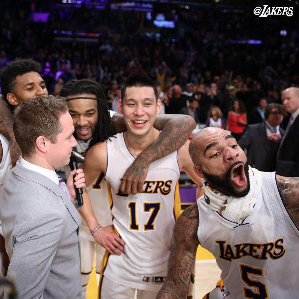 Thanks #lakernation for showin out tonight!! Thank God for the fun game and W! Hahah @MisterCBooz yellin #holdat