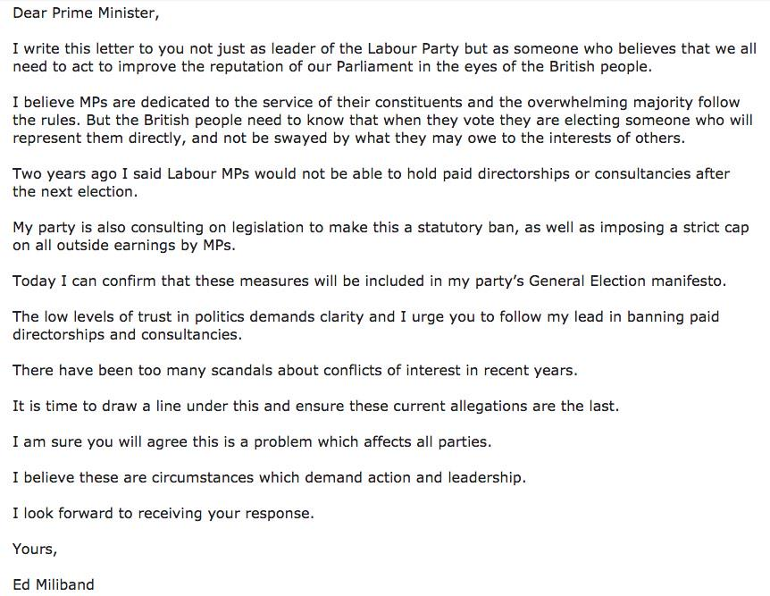 Good letter from Miliband on MP consultancies but let's hope he commits to a 50% reduction in new paragraphs by 2020 http://t.co/YrdRZLaW9o