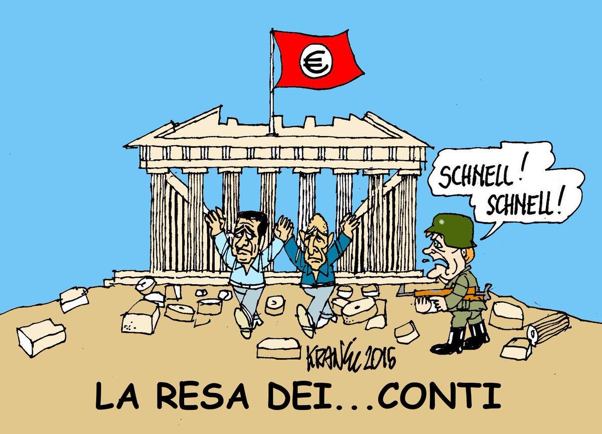 sullo sfondo delle rovine di Atene una Merkel vestita da soldato grida: Schnell, Schnell. Due figuri escono con le mani alzate sono Alexis Tsipras (primo ministro) e di Yanis Varoufakis (ministro finanze)