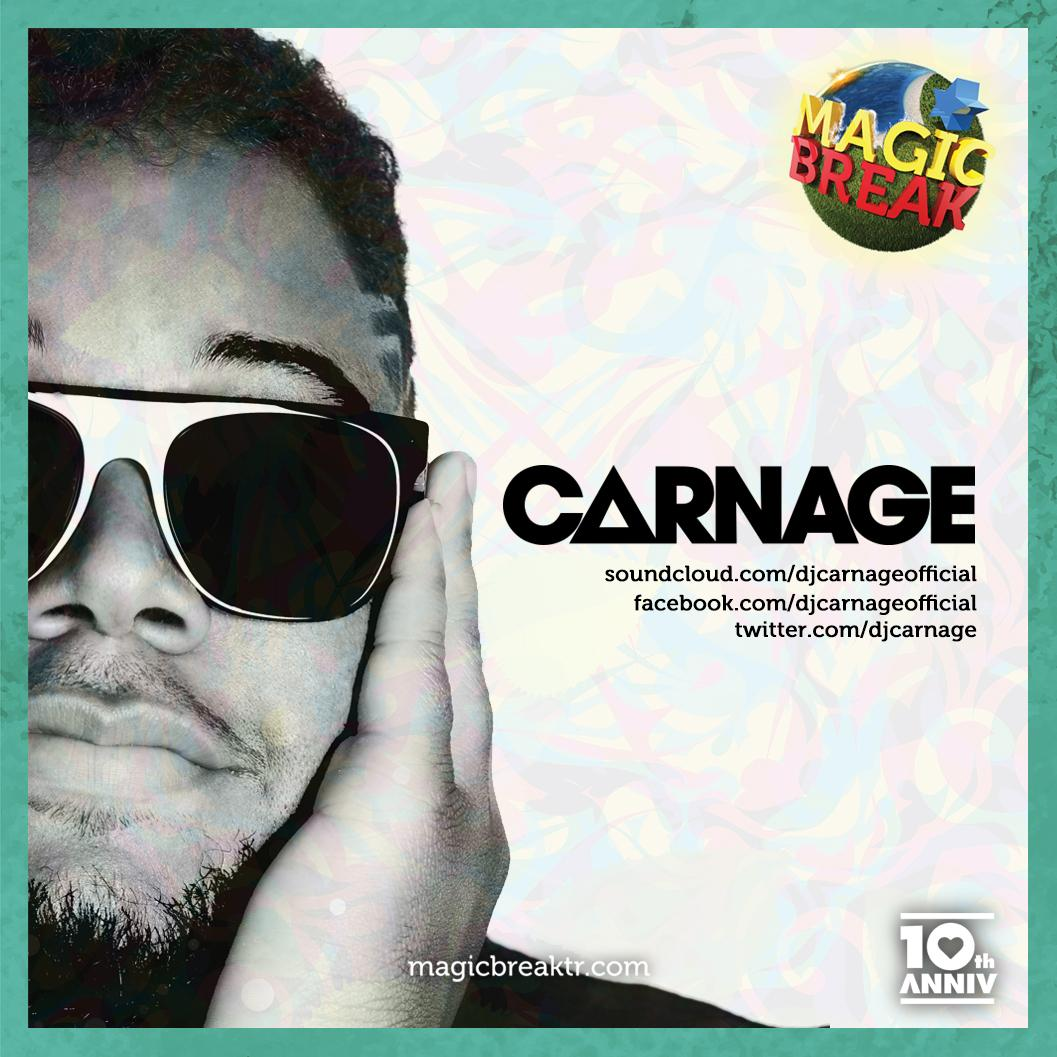 Merging ghetto tunes with electro house,DJ Mag Top 100 artist @djcarnage will be with us at #MagicBreak mainstage. http://t.co/qN0Y4aA6Kh