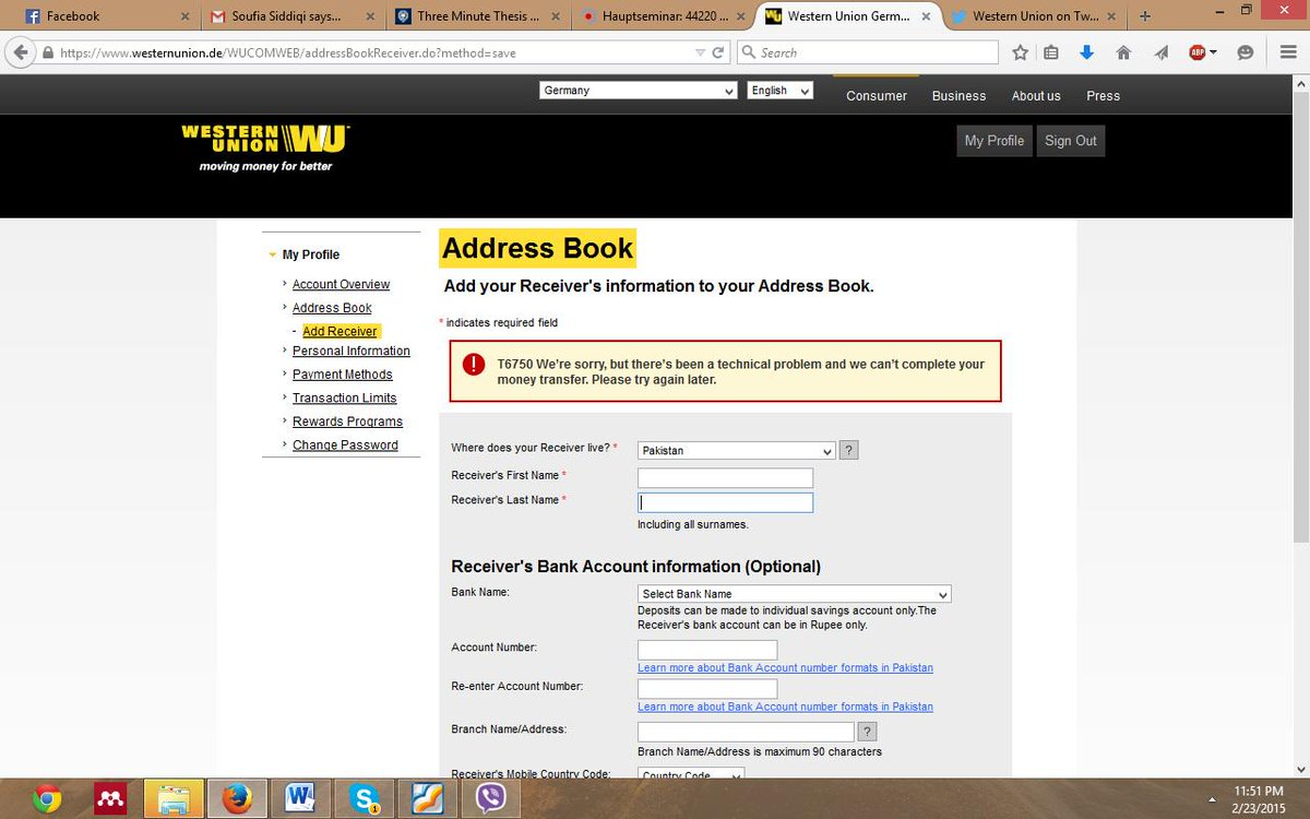 Western Union Bank Account Currently Unavailable