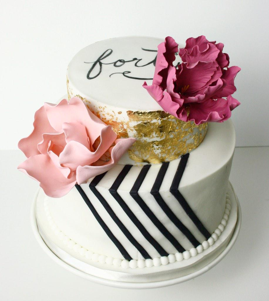 Poppyseed Cakery on Twitter Chic modern 40th birthday cake