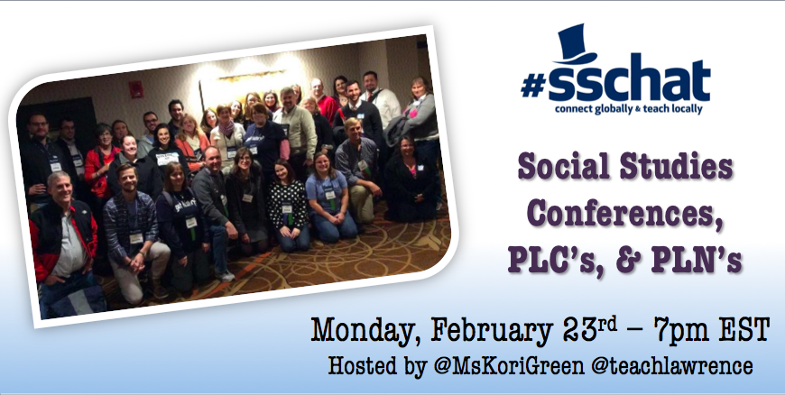 Great #sschat coming up in a few minutes on conferences, PLC's and PLN's! http://t.co/bhgiYEiLnu