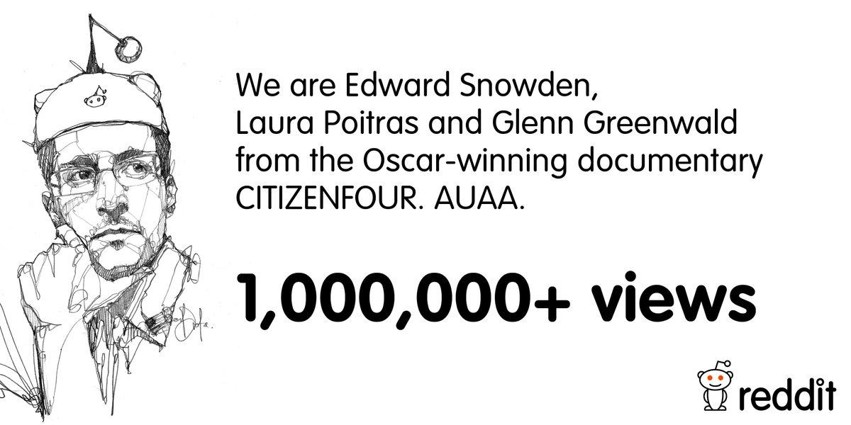 The Edward Snowden AMA has already surpassed 1,000,000 views! http://t.co/WlYxtGQ6cM http://t.co/QKxgBVlJ0J