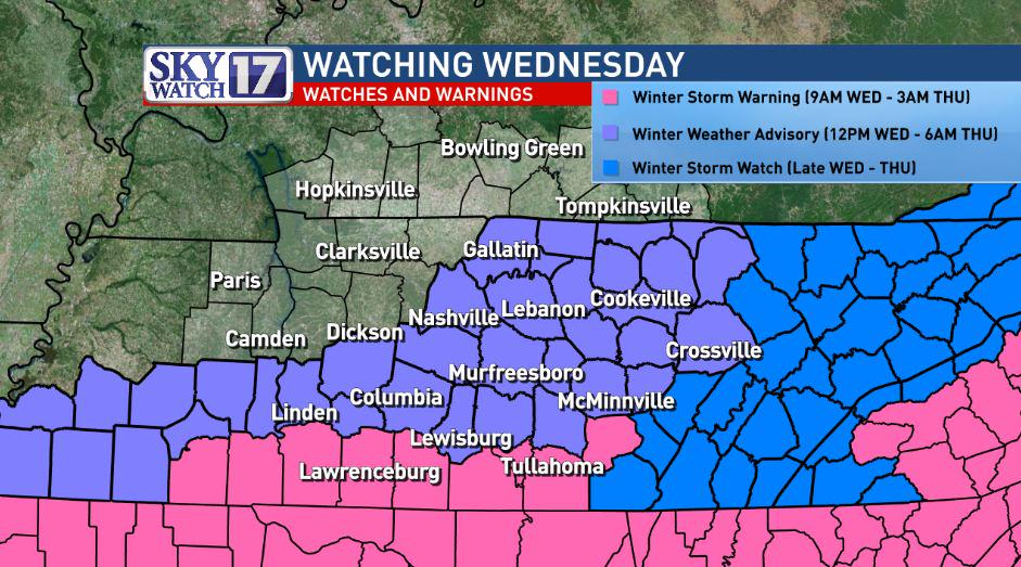 Here we go again...Snow likely for Wed.  Winter Storm Warn 4 counties in pink.  Higher amounts here. #skywatch17 http://t.co/CZVAPC24gB