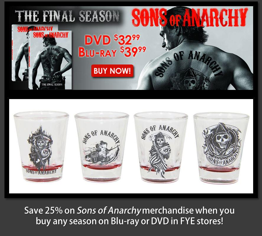 To celebrate the release of @SonsOfAnarchy: The Final Season, a fan will win a shot glass collection! RT/F to enter! http://t.co/1BO0ElsqJJ
