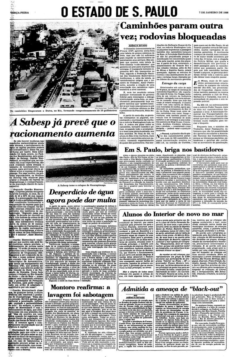Greve de caminhoneiros, racionamento de água, temor de blecaute. Parece hoje, mas é 1986: http://t.co/FLpfdPQ0UC http://t.co/MI1zYlMmk5