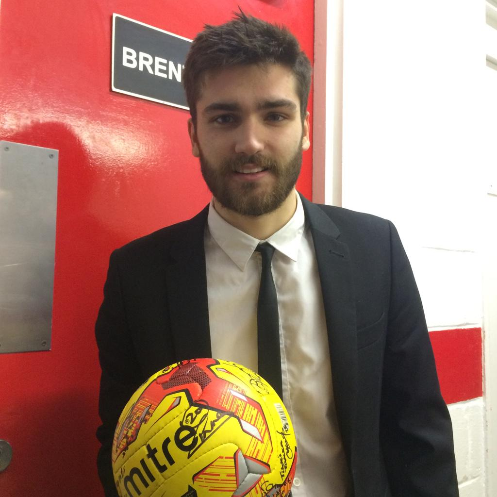 Here's the hat trick hero with the match ball signed by his team mates. Well done Jon Toral! #brentfordfc http://t.co/9rEtxX6saU
